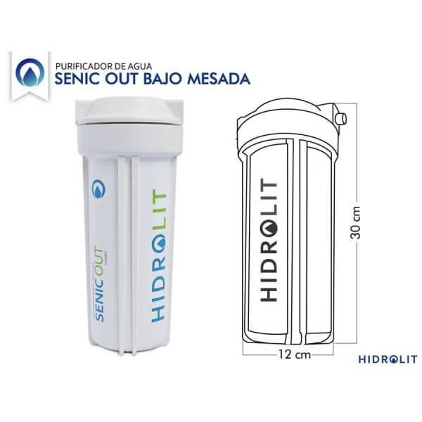 Medidas del Purificador de agua bajo mesada Senic Out Hidrolit con filtro para arsénico