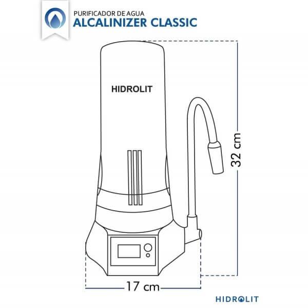 Medidas del Purificador de Agua Hidrolit Alcalinizer Elite