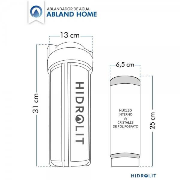 Medidas de Ablandador de agua para elminar sarro HIDROLIT ABLAND HOME SMALL y filtro de repuesto