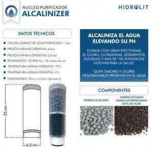 Agua alcalina Purificador Filtro Aumenta PH Alcalinizer Hidrolit